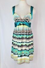MAX & CLEO Sun Dress 4 SMALL Green Brown Yellow Twist Front Lined Padded NEW