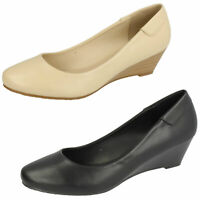 LADIES SLIP ON SMART WORK COURT LOW WEDGE HEEL SHOES,CREAM BLACK UK 3-8 F9806