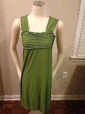 MSSP Max Studio Moss Green Pleated Ruffle Chest Stretch Dress Small Empire EUC