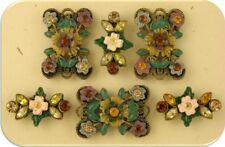 2 Hole Beads Flower Floral Designer Brown Topaz Swarovski Crystal Elements QTY 6