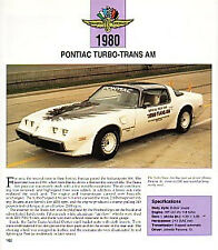 1980 Pontiac Firebird Trans Am Turbo Indy Pace Car Article - Must See!!