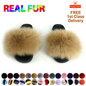 Real Fox Fur Slippers Shoes Women Fashion Sliders Summer Sandals Flip Flops