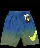 New Nike Boys' Color Fake Breaker Volley Swim Trunks Swimsuit Blue Volt Green