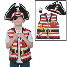 "Child's Pirate Costume Kit (3 Pieces)    Vest 17"" x 20"" Hat 17"" x 9"" x 22"" cir."