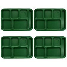 4x Penny Saver 6-Compartment School Lunch Cafeteria Tray Sherwood Green PS1014