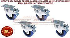 4 PCS HEAVY DUTY SWIVEL RUBBER CASTER WHEELS WITH BRAKE 50MM