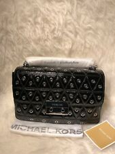 NIP Michael Kors $358 Sloan LG Grommeted Patent/Glossy Leathr Shoulder Bag-Black