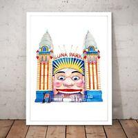 Luna Park Painting Sydney Melbourne Drawing St Kilda Home Decor Art Poster Print