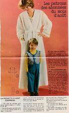 Patron couture Modes et travaux robe de chambre femme, combinaison pantalon 1978