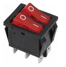 INTERRUPTEUR LUMINEUX DOUBLE 6 contacts à BALANCIER 250V 15A ON/OFF ROUGE bouton