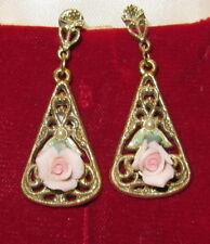 Vintage Enamel&Bisque Porcelain Roses Lucite Pearl Filigree Gold Plate Earrings