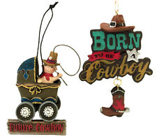Cowboy Baby Country Western Christmas Ornaments Good for Crafts/Cake toppers (2)