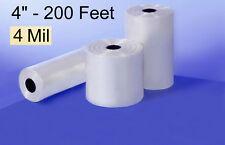 "200' 4"" 4-Mil CLEAR POLY TUBING Impulse Heat Seal FDA Flat Plastic 4ml feet ft"