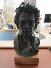 """BEETHOVEN BUST BY AUSTIN PRODUCTION CHALKWARE BLACK SCULPTURE 14"""""""