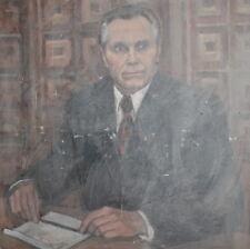 Large vintage social realism oil painting portrait