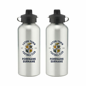 PERSONALISED Luton Town FC Gifts - Bold Crest Water Bottle - Official