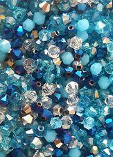 100 4mm Crystal Bicone Beads Aqua Mix Tiaras  & Jewellery Making