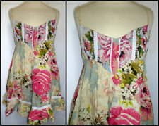 MISS SELFRIDGE STRAPPY RETRO FLORAL TUNIC DRESS UK 10