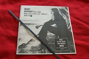 MARY HOPKIN  APPLE RECORDS 1971 ORIGINAL VINTAGE ADVERT WATER ,PAPER & CLAY