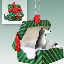 Greyhound Blue Gray Dog Green Gift Box Holiday Christmas ORNAMENT
