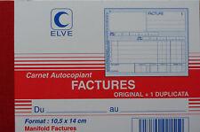 FACTURIER - CARNET DE 50 FACTURES AVEC DOUBLE - ELVE - 10x14 cm