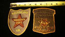 2 vtg. Police Sheriff's Patches, Bergen County, NJ & Richmond County, VA.Lot #7