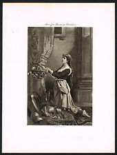 1890s Antique Joan of Arc Zoe-Laure De Chatillon Art Photogravure Print