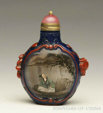 "2.57"" Old Handmade Overlay Inside Painted Glass Snuff Bottle ""Figure painting"""