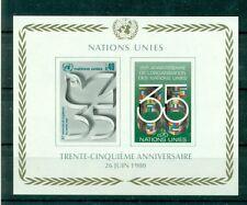 """Nations Unies Géneve 1980 - Michel n.92/93 B - Feuillet n.2  - """"35e anniversaire"""