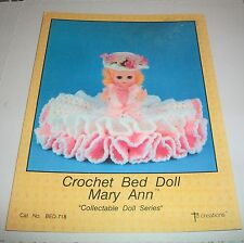 TD CREATIONS CROCHET PATTERN LEAFLET 1986 MARY ANN 13 & 1/2 INCH BED DOLL 718
