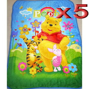 5pc Wholesale All Season Kid Fur Fleece Winnie the Pooh Blanket Polar Throw Soft