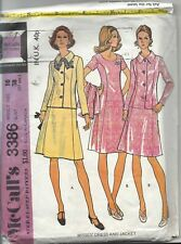 Vintage McCall's  Sewing Pattern Misses' Dress and Jacket -  3386