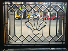 """Nice Antique Chicago Beveled Glass Leaded Transom Windows 40"""" by 31"""" Circa 1910"""