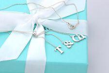 "Tiffany & Co Silver T & Co Dangle Dangling Necklace 16"""