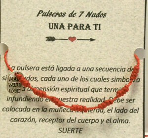 "Pulsera  Amuleto "" 7 NUDOS ""  de buena suerte (sept.20-1)"