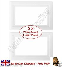 2 x White Finger Plates 2 Gang Double Light Switch Socket Surround Panel Cover