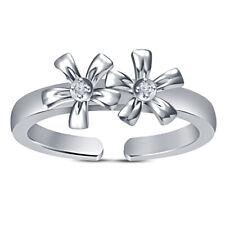 Women's Double Flower Adjustable Toe Ring 14K White Gold Over Round Diamond