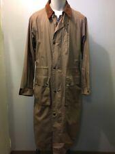 Preowned Sanyo Trench Coat Mens M Rain Jacket Overcoat Cotton Snap Zip Up Green