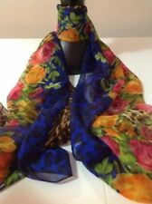Rectangle Floral 100% Silk Scarves and Wraps for Women