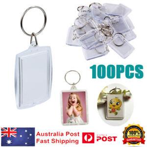 100pcs Acrylic Blank Key Rings Clear Photo Insert Frame Keychains DIY Keyring AU