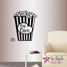 Vinyl Decal Popcorn Snack Cinema Movie Theater Fast Food Wall Sticker Decor 2150