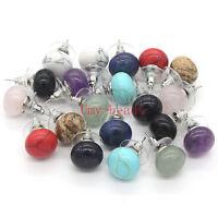 Silver Plated Multi Style Amethyst Quartz Lapis lazuli Stone Ball Stud Earrings