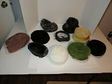 Lot of 10 Vintage Lady's Hats-Netting, Velvet, Faux Fur, Others Lot #2