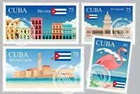 Cuban Landmarks Travel Stamps Art Print Mural inch Poster 36x54 inch