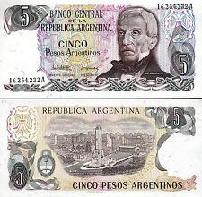 Argentina  5 Pesos 1983 1984 , UNC , P-312 , Prefix A , Sign Lopez - Del Solar