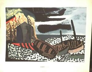 GEORGES BRAQUE MARINE ABSTRACT LITHOGRAPH PRINT 26 X 32 INCHES