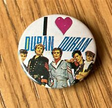 More details for duran duran vintage button style  metal pin badge from the 1980's i love