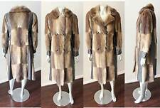 Muskrat Real Fur Leather Vintage 70s Brown Blonde Hippie Boho Maxi Coat S+M