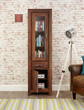 Mayan Dark Wood Display Cabinet Glass Door With Storage Narrow Solid Walnut