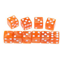 10Pcs Acrylic Six Sided D6 Square Dice Spotted for Dungeons & Dragons Orange